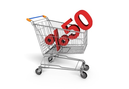 Shopping Sale - 50  Discount shopping chart white background
