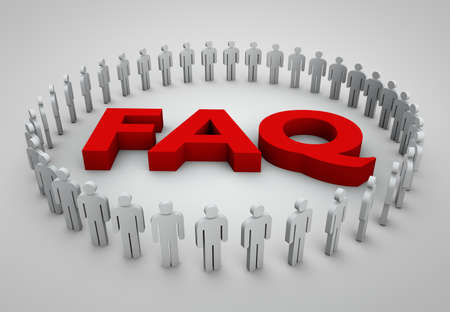 faq's: FAQs 3D Text with people concept image Stock Photo