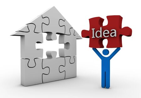 house idea 3d concept design white background photo