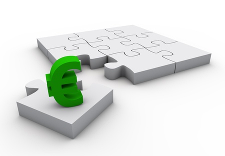 The missing piece is finance euro sign white jigsaw puzzle Stock Photo