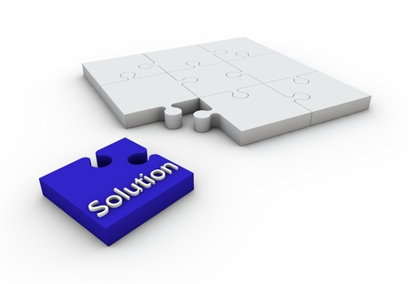 Solution puzzle cyan jigsaw white background concept design Stock Photo - 13034964