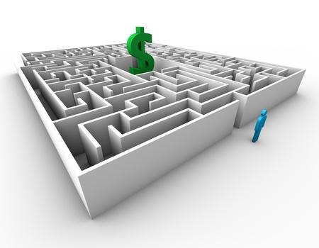 Maze dolar sign blue business man concept design