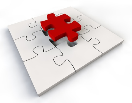 Puzzle solution red color Jigsaw Piece white background Stock Photo - 13750535