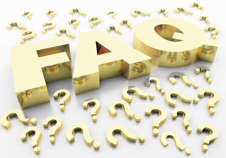 faq question marks that represent the value of gold and gold-plated with a reflective writing on a white background