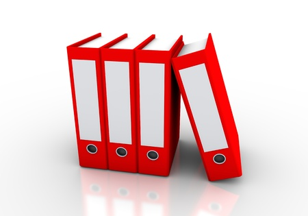 red folders are used in the world of business and education Stock Photo