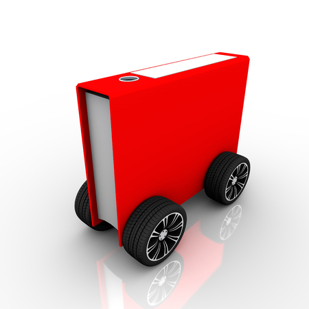 folder for Documents on Wheels isolated on white background