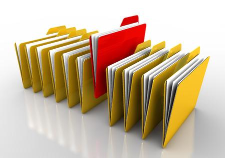 sarı klasörler içinde dikkat çekmek için kırmızı renk klasör yapıldı. Temiz bir görüntü arka plan beyaz renk Stok Fotoğraf