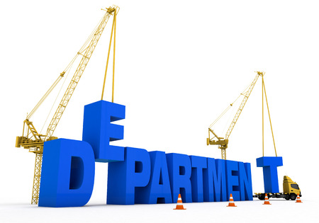department development and cranes and trucks to build a rich visual images added. Blue font was used on a white background