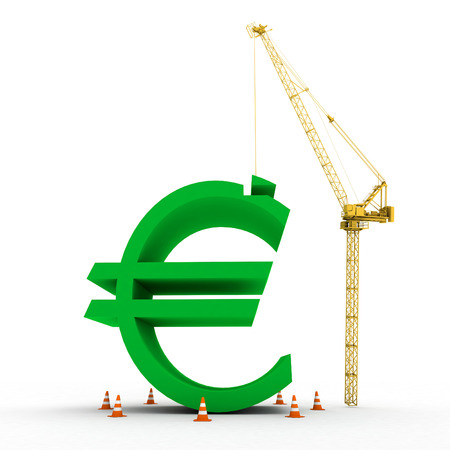 euro to be used in the money markets and build image has been created. Stock Photo