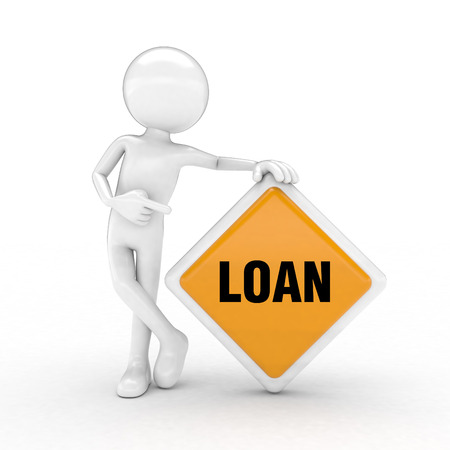 loan text highlighted by the sign and the man with the visual images. Stock Photo