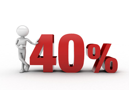 40: 3D character with 40% discount sign Stock Photo