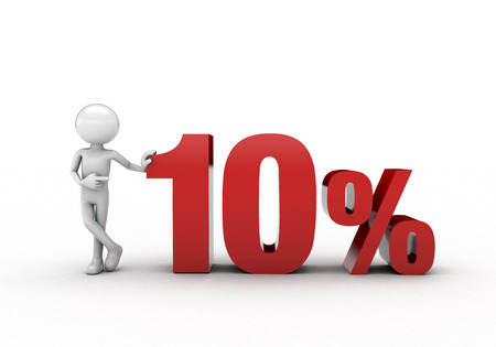 commercial activity: 3D character with 10% discount sign