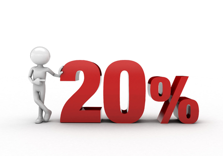 3D character with 20% discount sign Stock Photo - 57570259