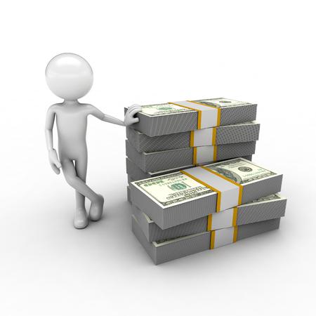 describing: visual describing the economy using monetary and human figures