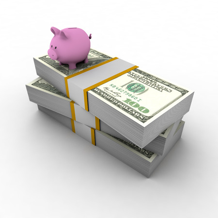 Piggy bank on top of pile of dollars Stock Photo