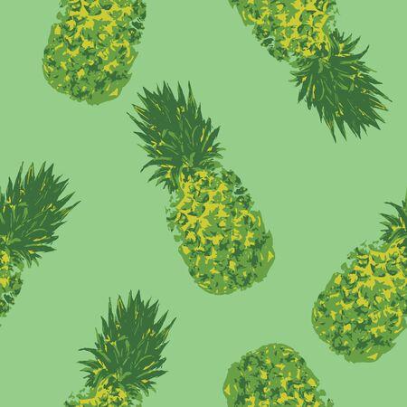 pineapple pattern on green background Illustration