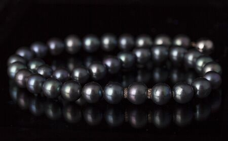 Tahitian pearl necklace on a black background