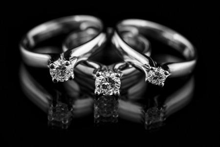 silver jewellery: Jewellery diamond ring on a black background.