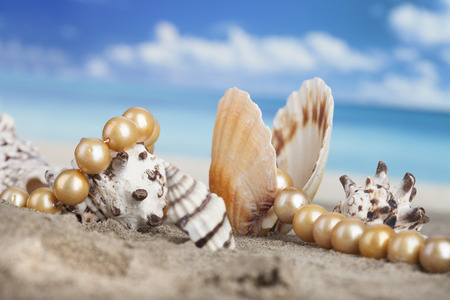 pearl background: Pearl necklace on the beach in the shell as a symbol of summer vacation at sea Stock Photo