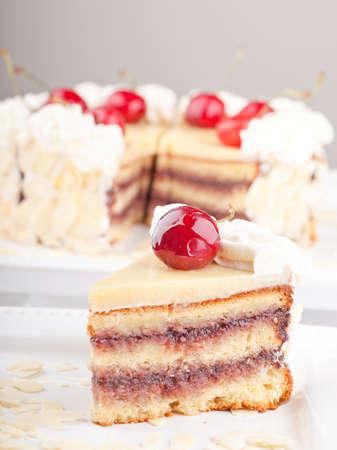 Cherry Cake Slice On A White Plate
