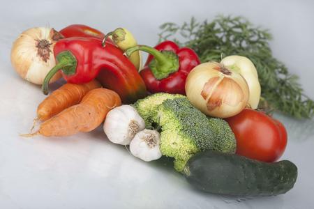 A set of fresh vegetables isolated on white Zdjęcie Seryjne