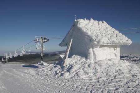 serbia xmas: Ski lift in sunny but freezing weather Stock Photo