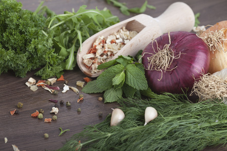 Herbs and spices on wooden background Zdjęcie Seryjne