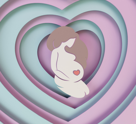 Pregnant girl on the background of blue and pink hearts. Paper composition with a pregnant girl. European woman. 3D illustration. Stock Photo