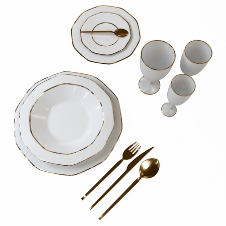 A beautiful set of dishes with a gold pattern. Isolated plates, glasses, spoons, fork, knife on the table. 3D illustration. 写真素材 - 115193819