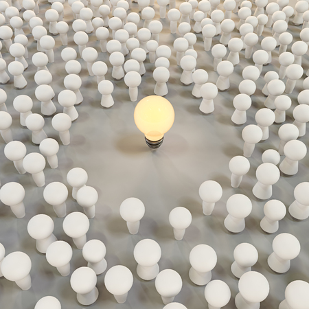 Concept of the emergence of ideas in the community. Light bulb surrounded by people. 3d illustration.