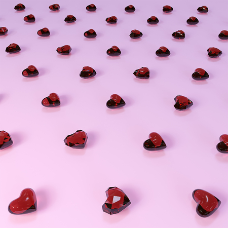Red glass hearts on a pink background. 3D illustration. 版權商用圖片