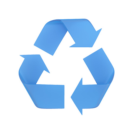 Isolated blue recycle symbol. 3D illustration. Archivio Fotografico