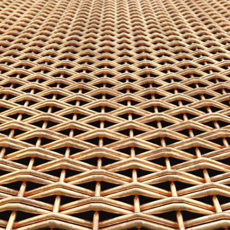 Wicker metal grill. Gold grid. 3D illustration. Standard-Bild - 116565030