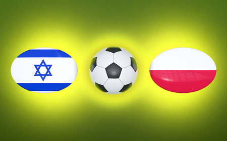 European Football Championship 2020. Schedule for football matches Israel - Poland. Flags of countries and soccer ball. 3D illustration.
