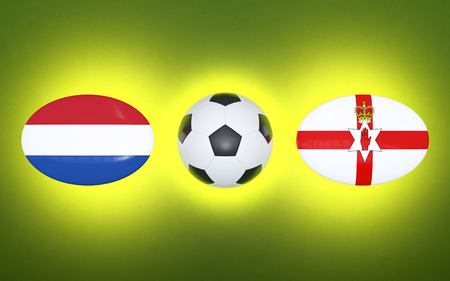 European Football Championship 2020. Schedule for football matches Netherlands - Northern Ireland. Flags of countries and soccer ball. 3D illustration.