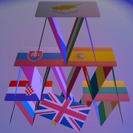 chain reaction: BREXIT the United Kingdom is leaving the European Union. This risky courageous decision, result of referendum may have positive or negative effects in future. Symbolized by a card in a house of cards. Stock Photo