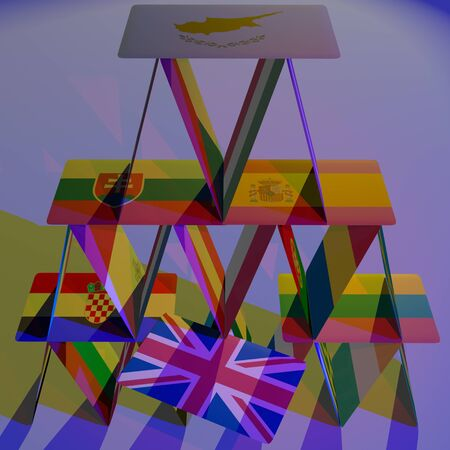 BREXIT the United Kingdom is leaving the European Union. This risky courageous decision, result of referendum may have positive or negative effects in future. Symbolized by a card in a house of cards. Stock Photo