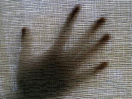 canvas: Hand under canvas Stock Photo
