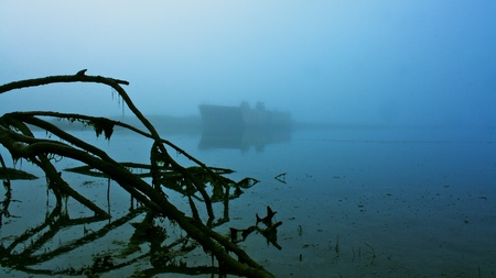 beached: Beached barge in the mist