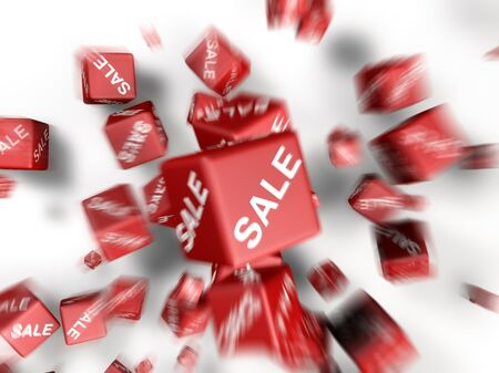 a lot of cubes with sale word on side falling together photo