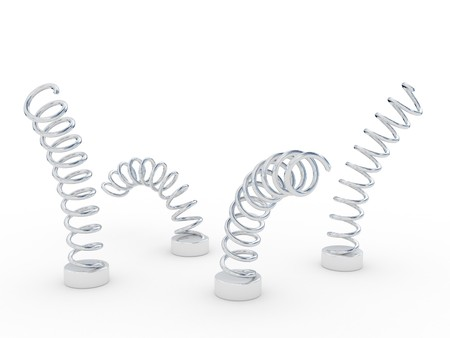 four steel springs over white photo