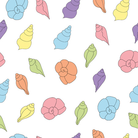 oceanside: Seamless pattern with seashells of soft colors on the white background