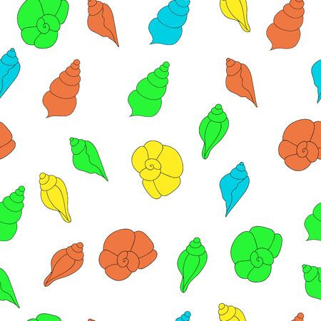 oceanside: Seamless vector pattern with bright seashells on the white background
