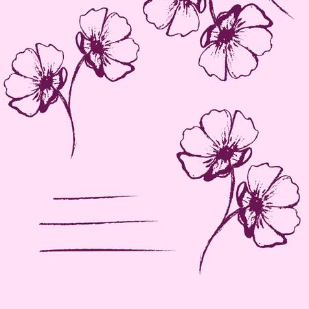 silhouette fleur: Carte rose avec des fleurs dessinées à la main