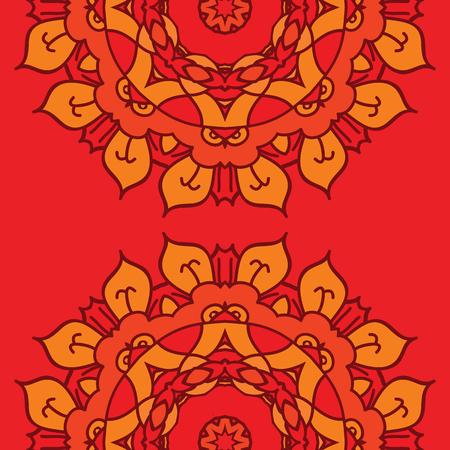 mandalas: Red background with two ornamental mandalas