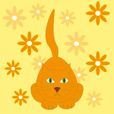 interested: illustration of red cat on the yellow background with flowers