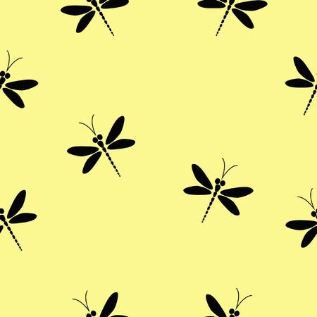 dragonfly wing: seamless pattern with black dragonflies on the soft yellow background Illustration