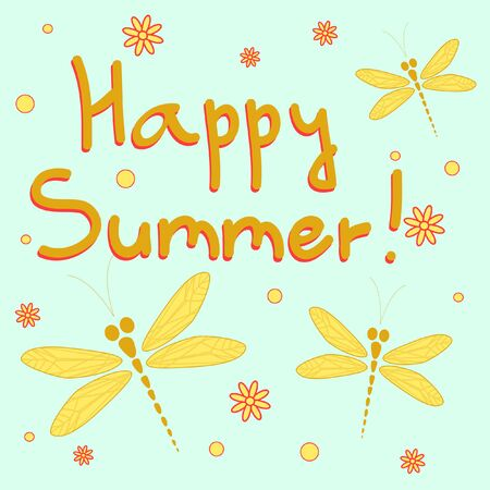 dragonfly wings: Happy summer card with dragonflies