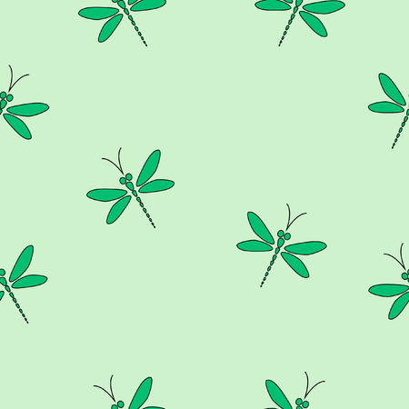 dragonfly wing: Green seamless pattern with dragonflies