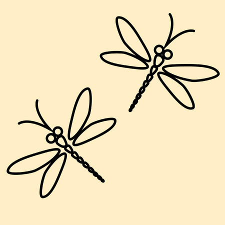 creamy: Two dragonflies silhouette on the creamy background Illustration